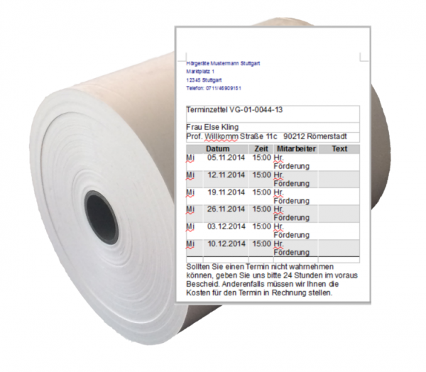 55 mm x 60 lfm Terminkartenrolle (Thermodirekt)